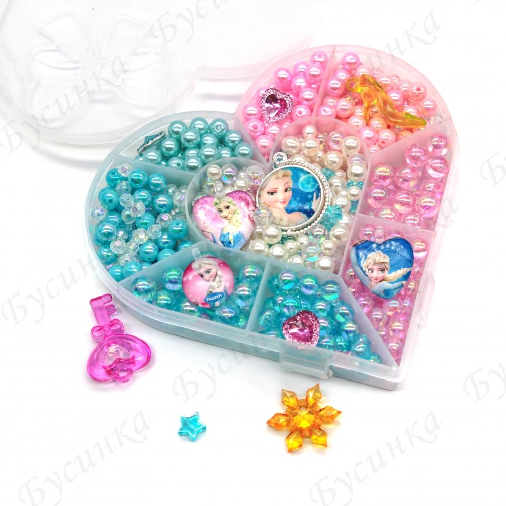 """Набор бусин """"Холодное Сердце"""" с кулонами и кристаллами для детского творчества"""