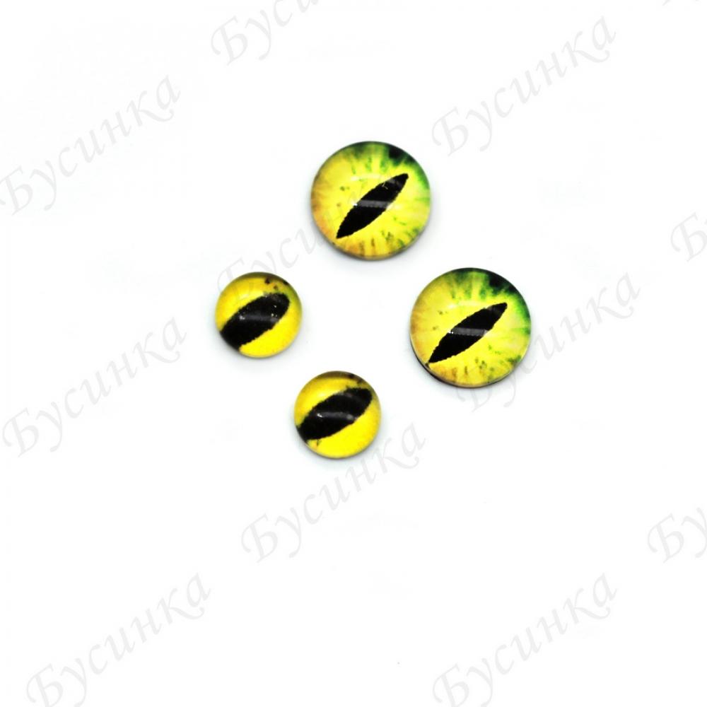 """Глазки кабошон стекло """"Живые"""", кругл. 6,8мм, Желто-Зеленые"""