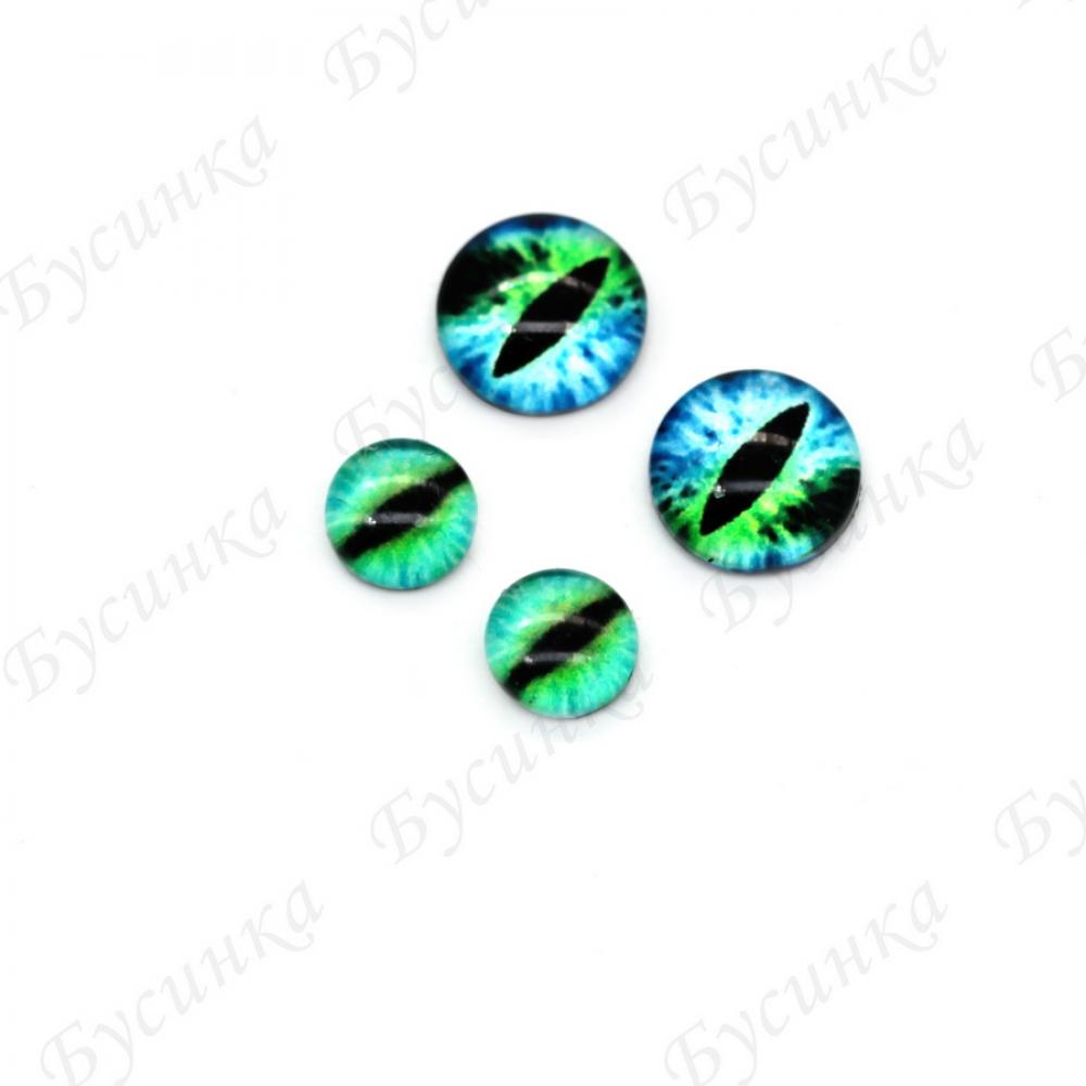 """Глазки кабошон стекло """"Живые"""", кругл. 6,8мм, Зелено-Голубые"""