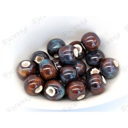 Бусины Керамические круглые глазурь 12 мм. Цвет: Коричнево-сизый