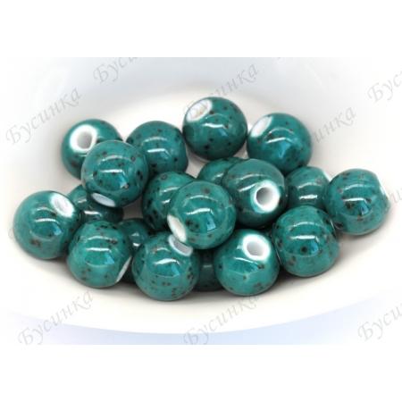 Бусины Керамические круглые глазурь 12 мм. Цвет: Изумрудный