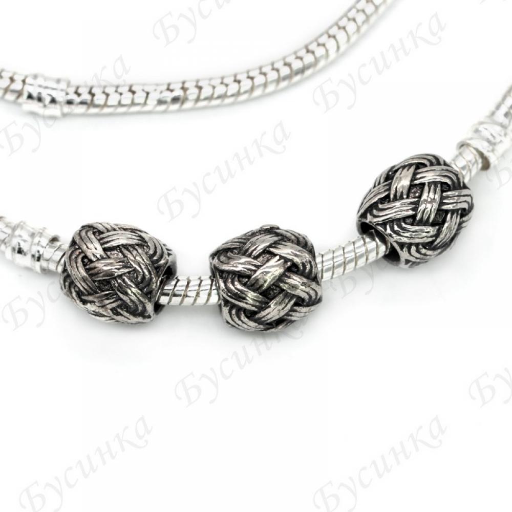 Бусины Шармы металлич. 14 мм.,вн.Ø 5 мм. Цвет: Античное Серебро