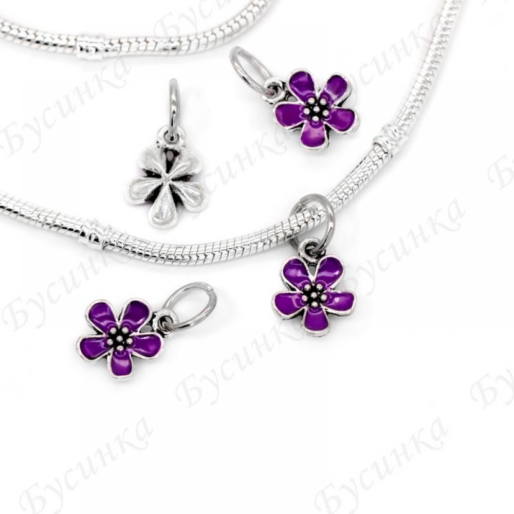 Бусины Шармы мет. Эмаль фиолетовая Цветок на колечке 22х12 мм.,вн.Ø 7 мм.
