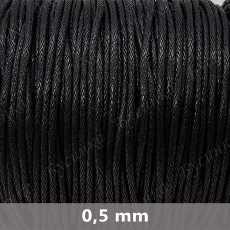 Шнур вощеный Полиэстер 0.5мм, Черный