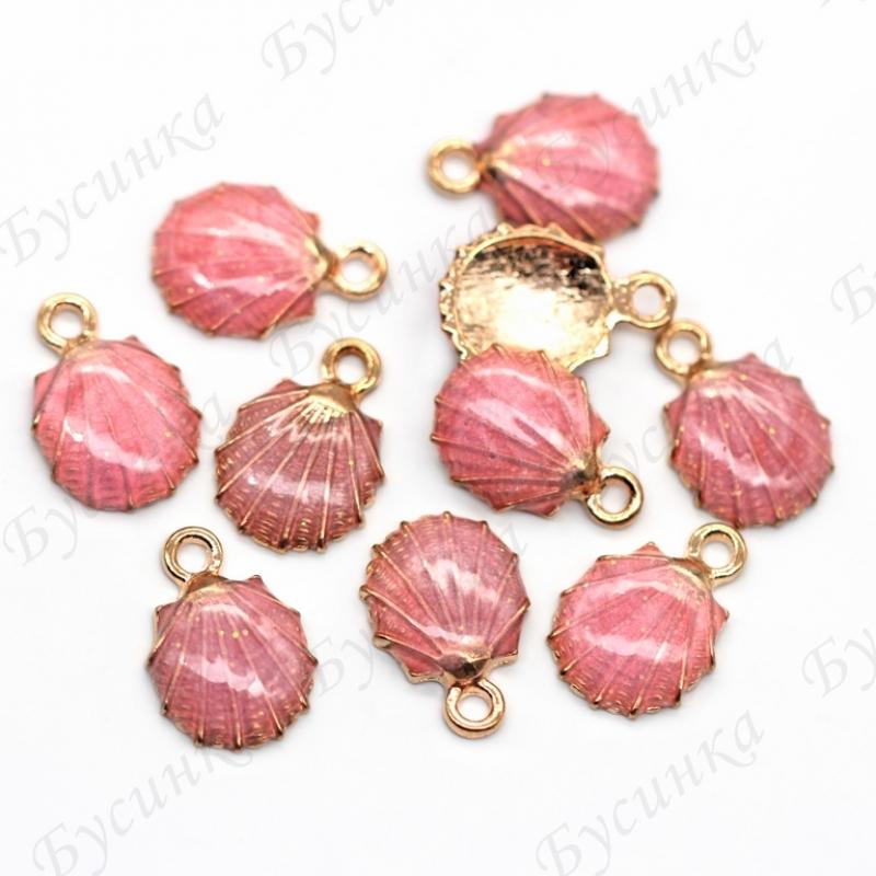 Кулон подвеска Ракушка жемчужница Эмаль цвет: Розовый 18х12мм, Золото