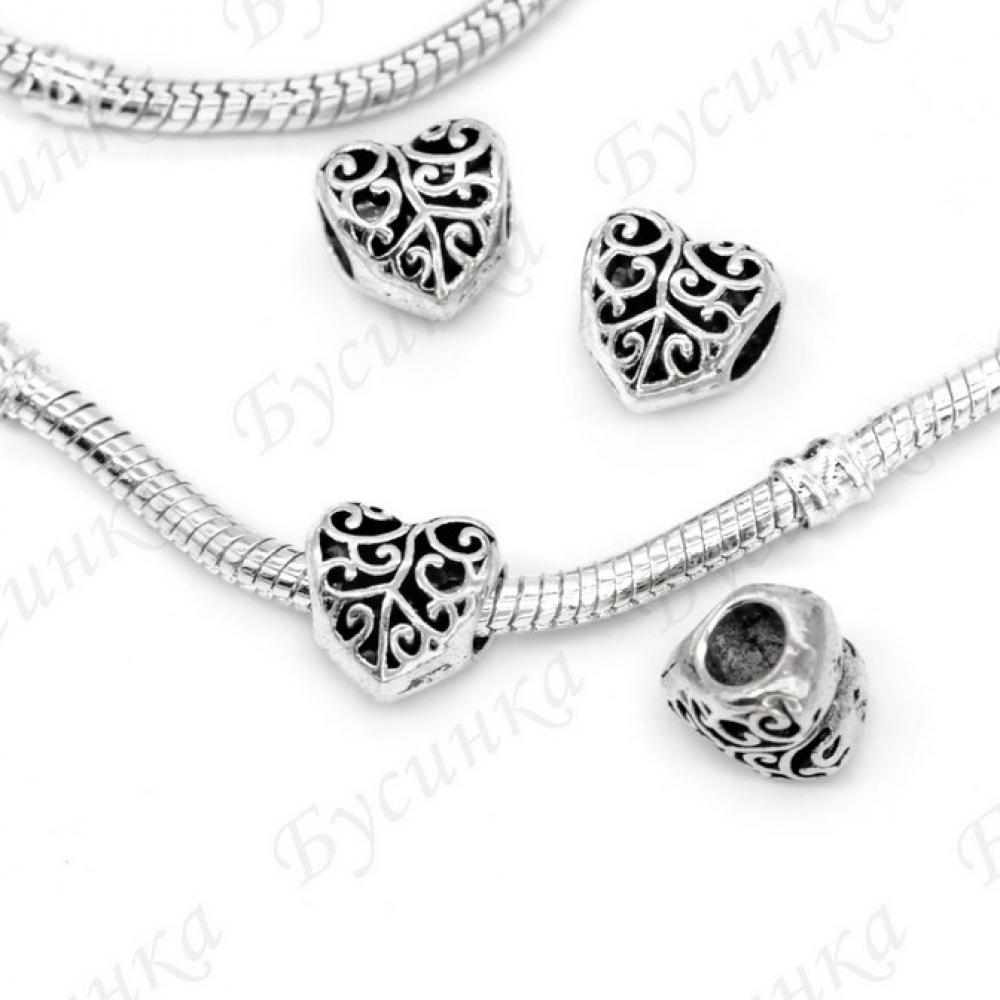 Бусины Шармы металлич. Сердце ажурн.10 мм.,вн.Ø 5 мм. Цвет: Античное серебро