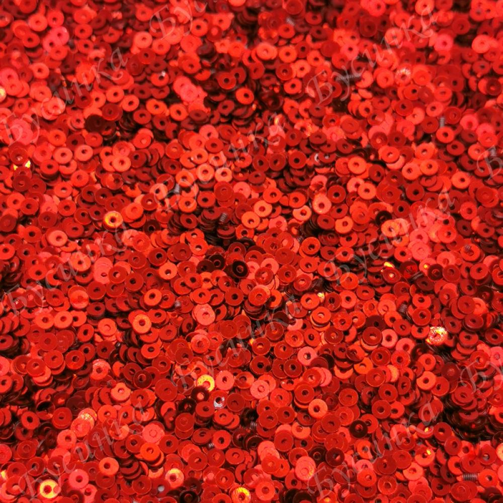 Пайетки 2 мм. Цвет: Красный металлик, 2,5 гр.