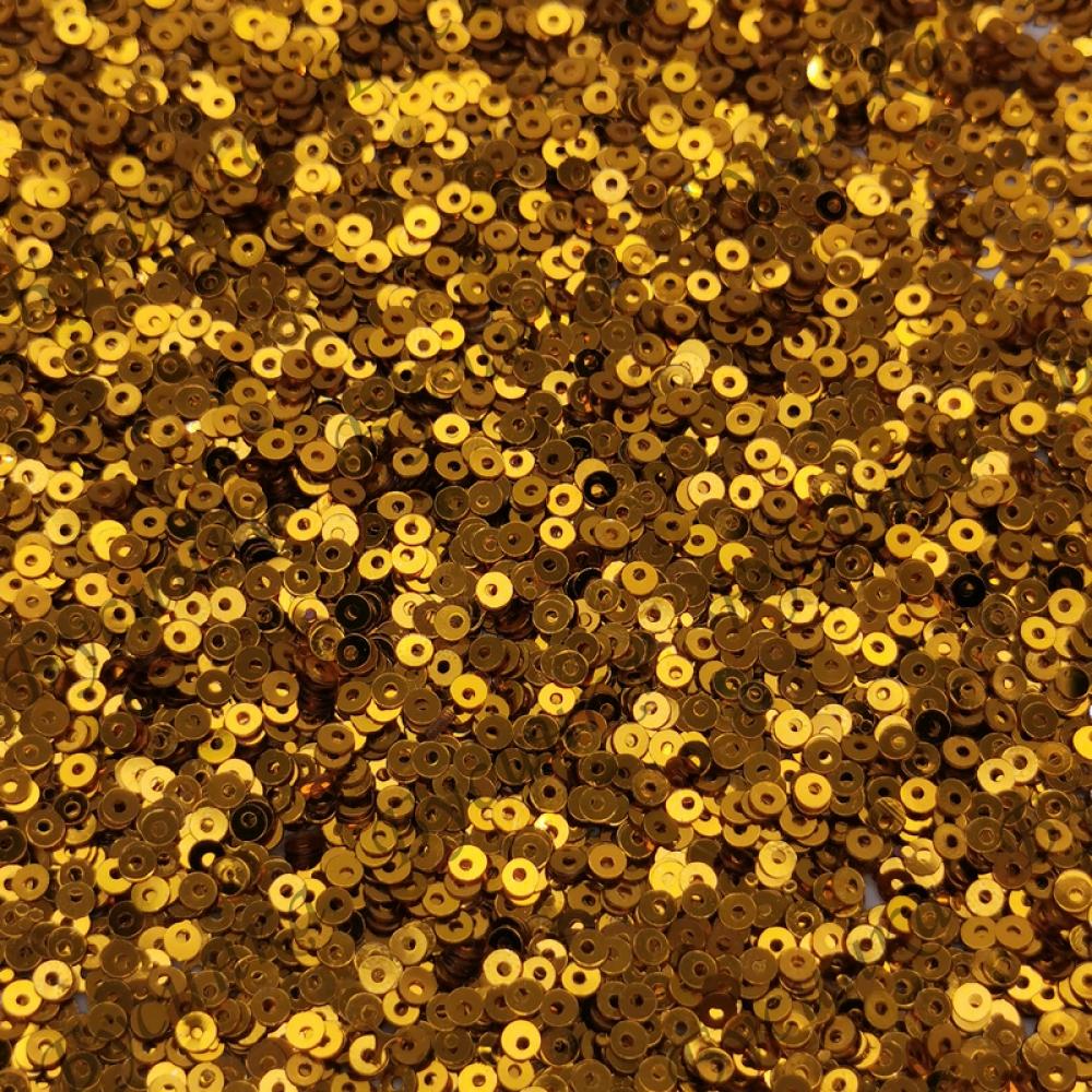 Пайетки 2 мм. Цвет: Золото яркое металлик, 2,5 гр.