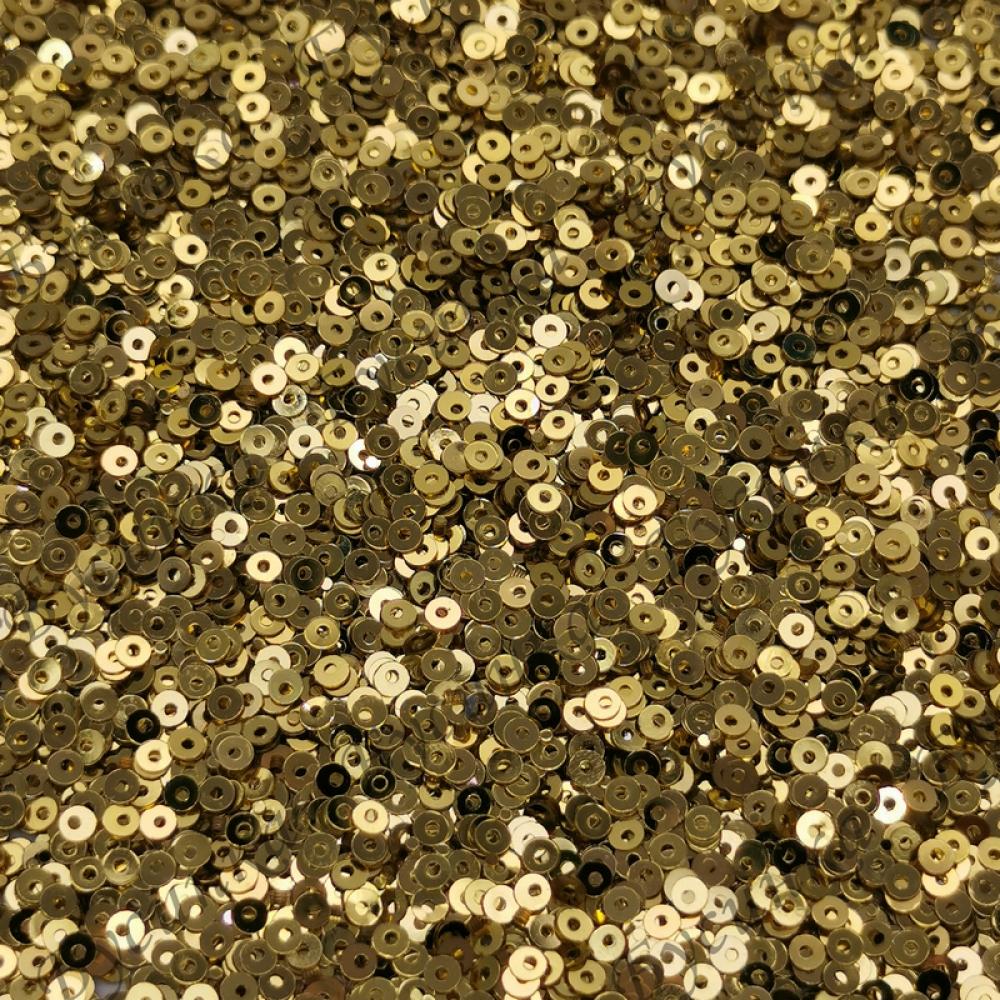 Пайетки 2 мм. Цвет: Золото желтое металлик, 2,5 гр.