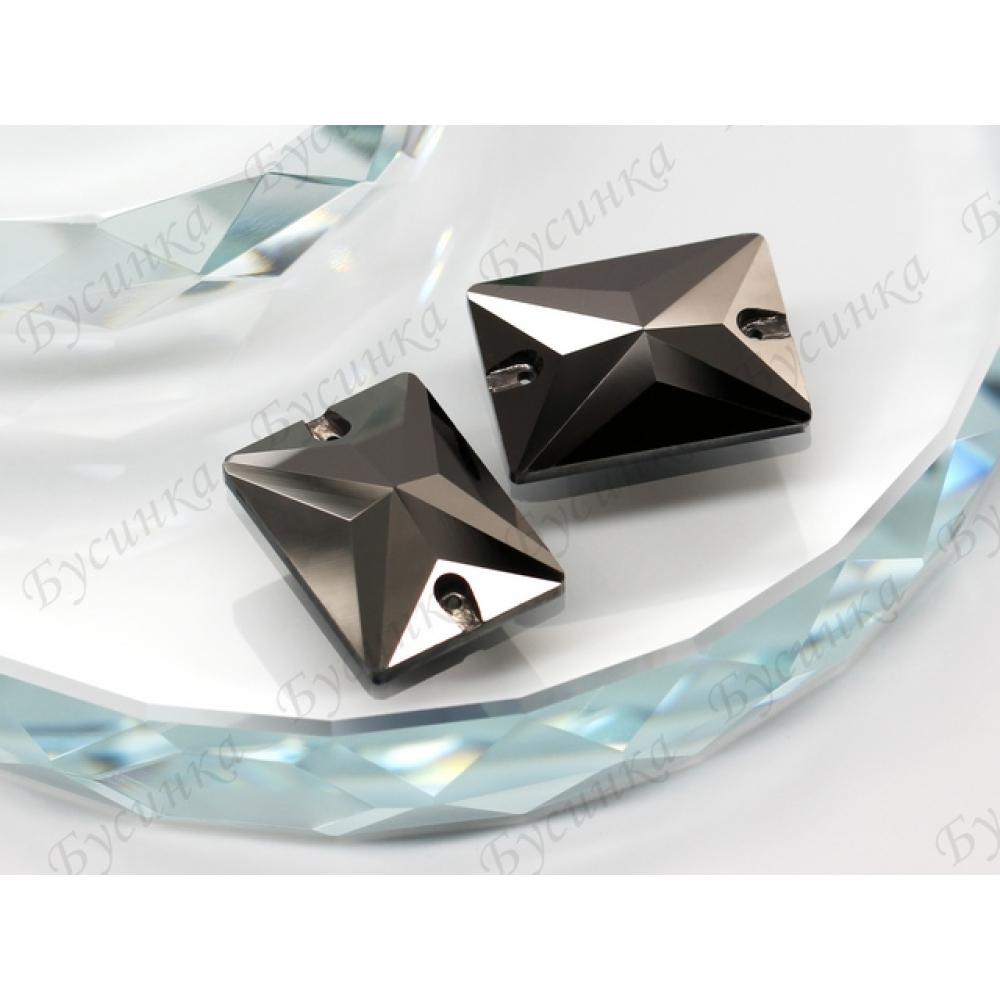 "Прямоугольник ""Джет гематит"" 25х18мм SWA crystallsModel 367-1"