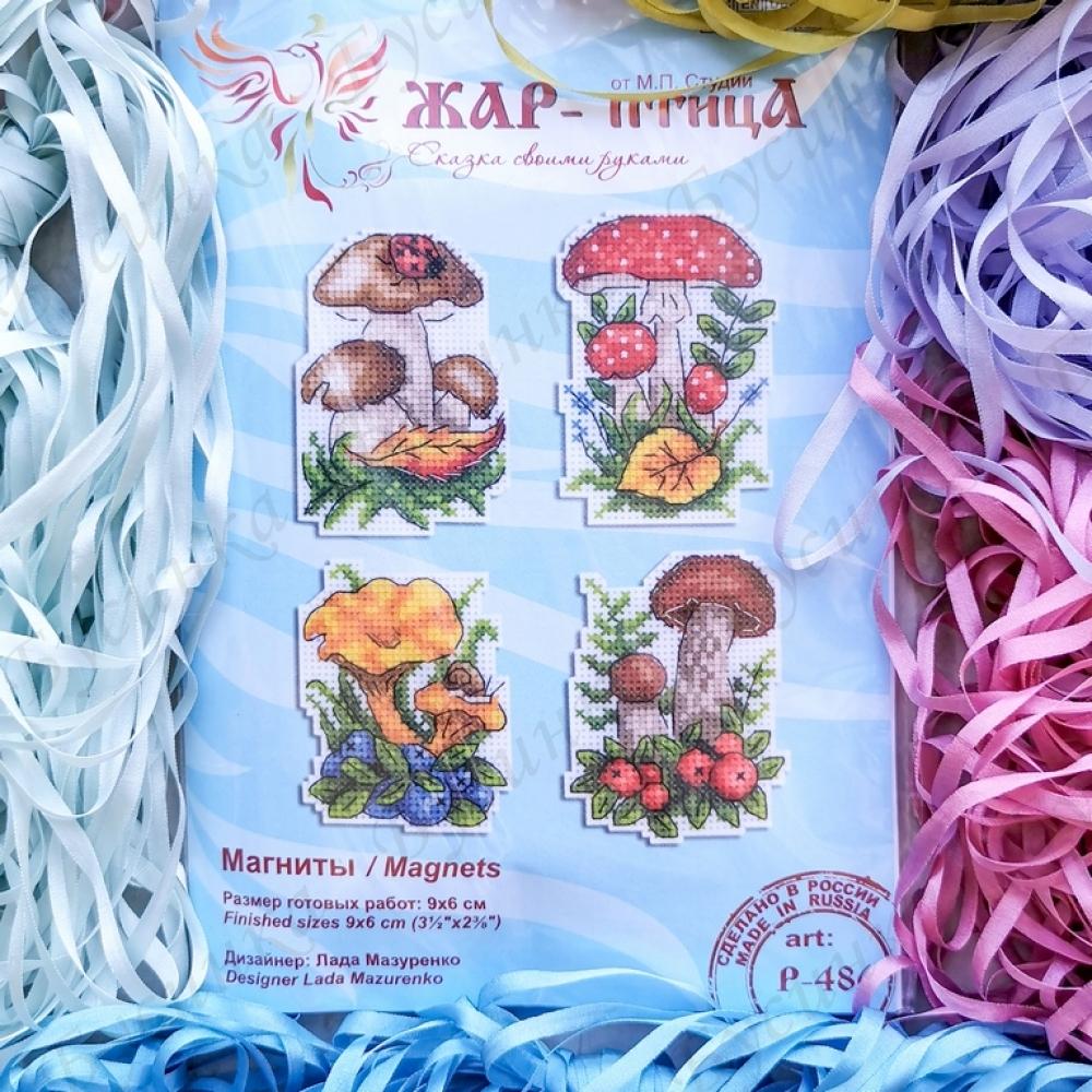 """Набор для вышивки Магниты """"Грибочки"""" по пластиковой канве, 9х6 см."""