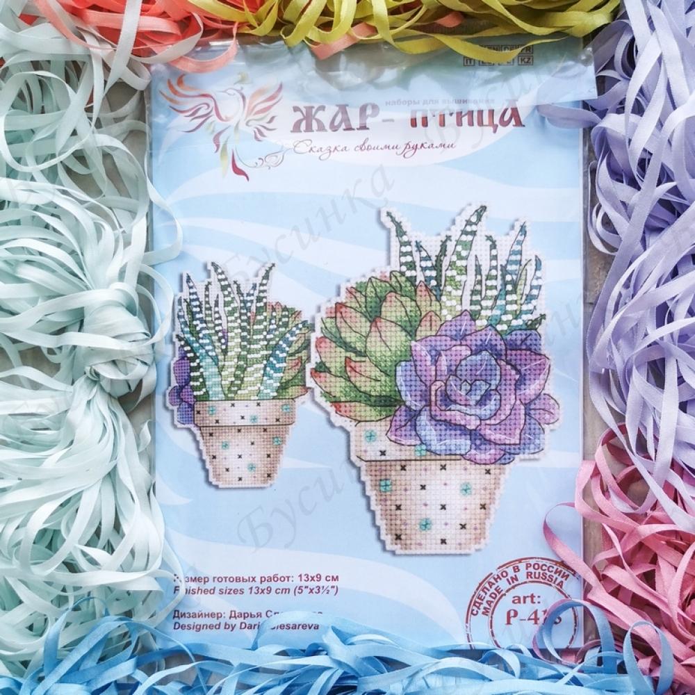 """Набор для вышивки """"Сукулент"""" по пластиковой канве, 13х9 см."""