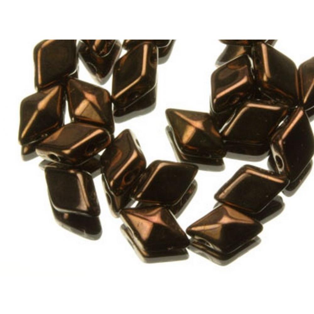 DiamonDuo бусины 2 отверстия бронза 5x8мм, (DD002)