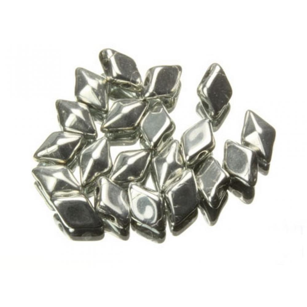 DiamonDuo бусины 2 отверстия серебро 5x8мм, (DD009)