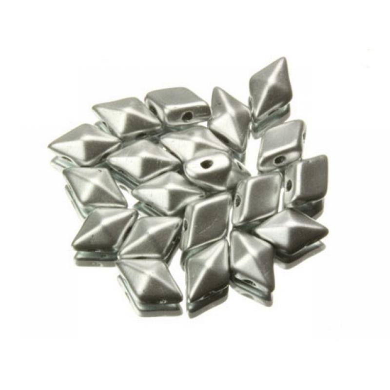 DiamonDuo бусины 2 отверстия серебро матовые 5x8мм, (DD027)
