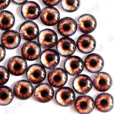 """Глазки кабошон стекло """"Живые"""", кругл. 10мм, Коричнево-серые"""