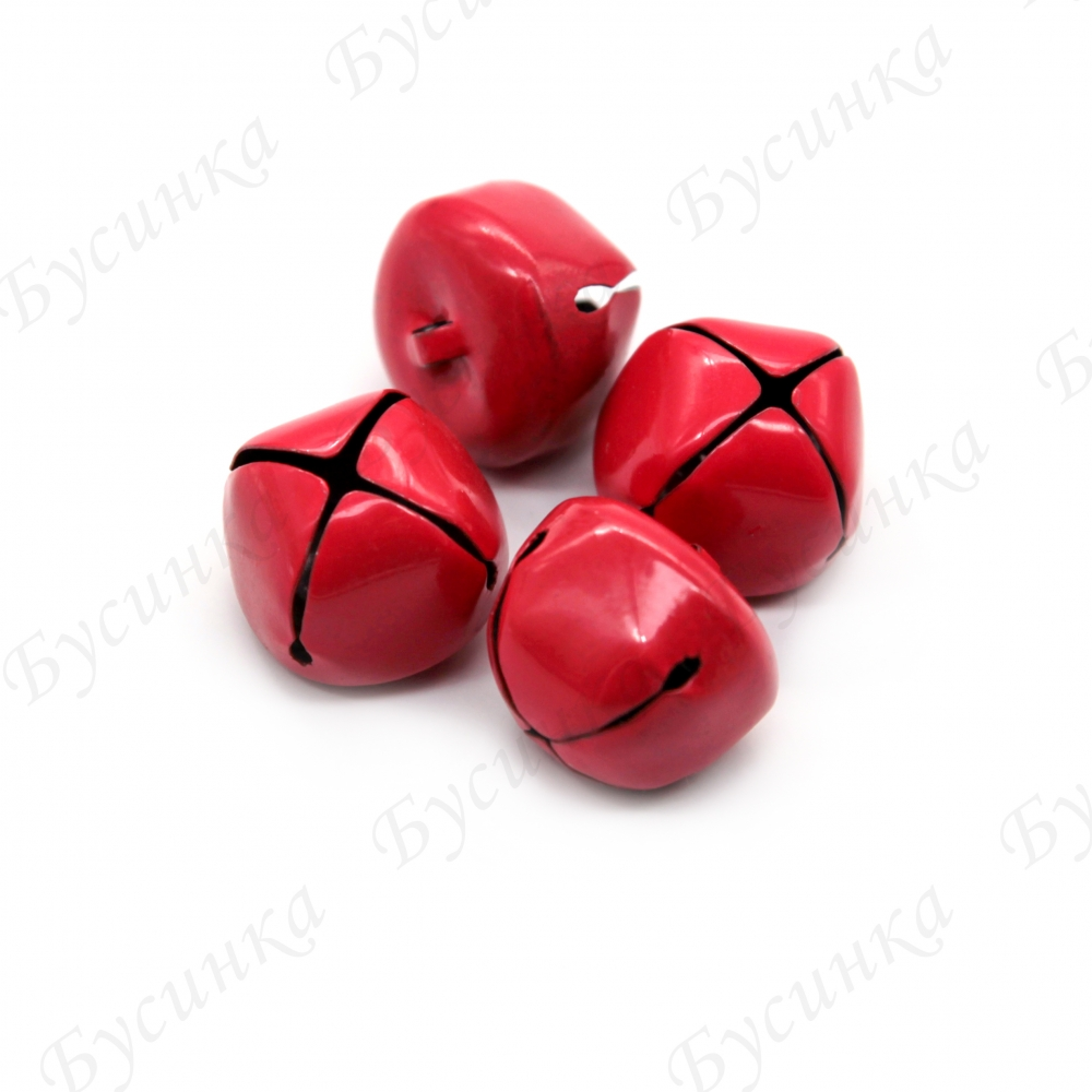 Бубенчики металлические 22х25 мм., Красный