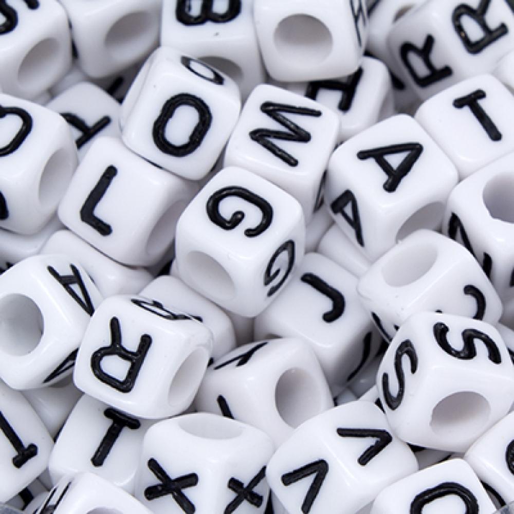 Бусины акрил алфавит Микс Кубики 6х6х6мм Белый