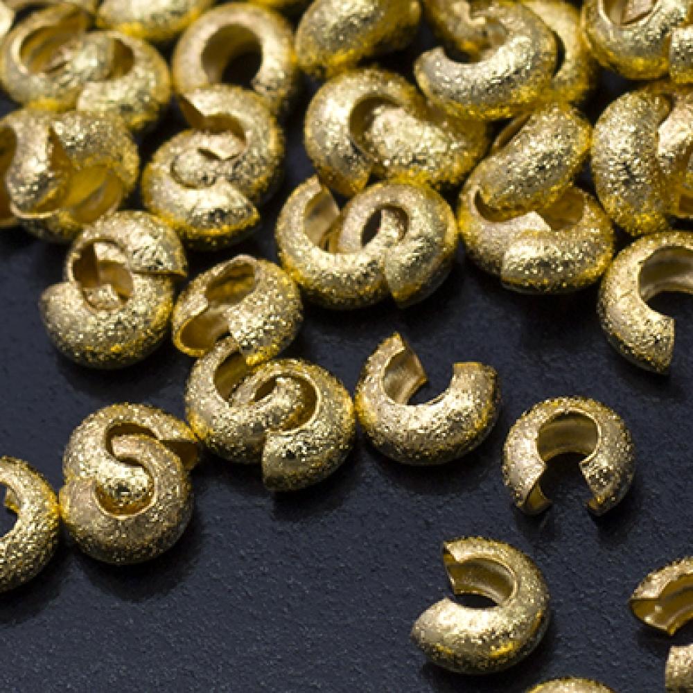 Бусины Крышки Кримпов (стопперов) латунь Полукруг 3.2х2.2мм, Золото