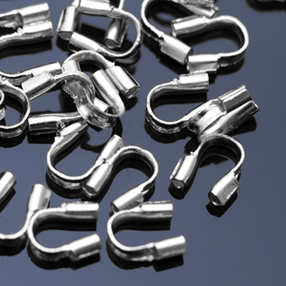 Зажимы протектор для ювелирного тросика 5х4х1мм Платина уп. 10 шт.