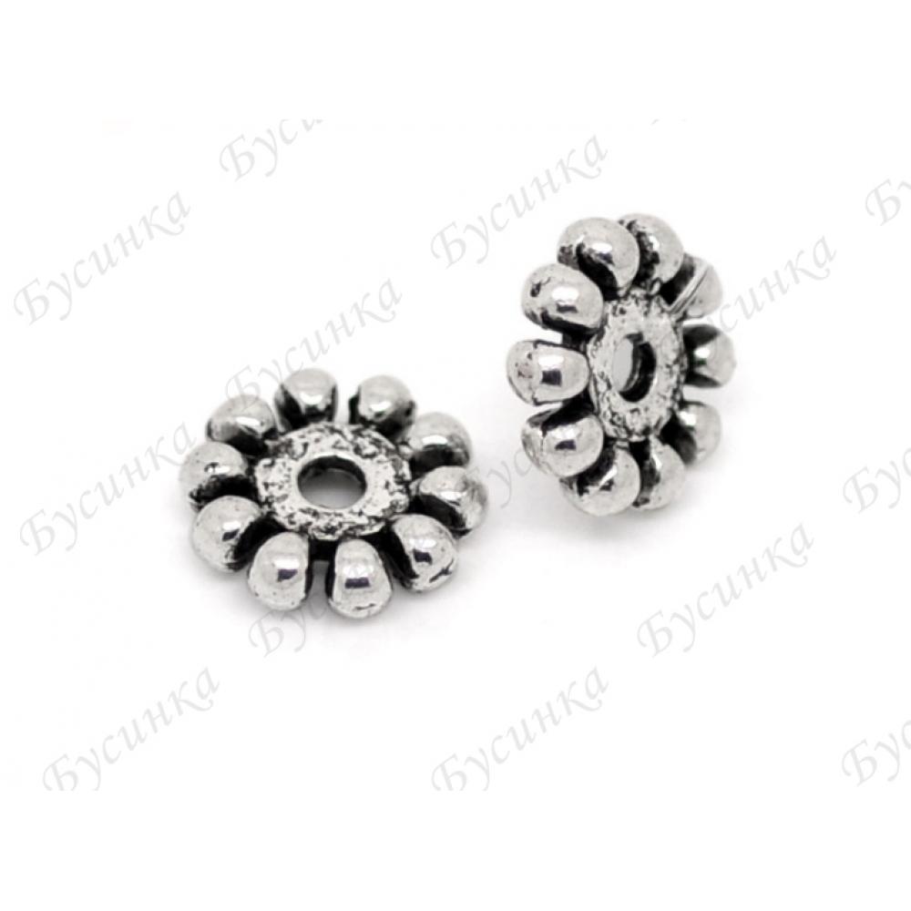 Бусины-разделители мет. Цветок 10 мм., Цвет: Античное серебро