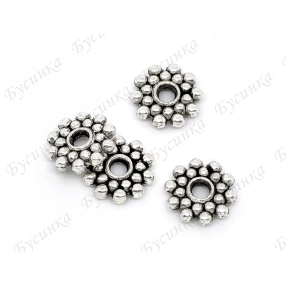 Бусины-разделители мет. Цветок 8 мм., Цвет: Античное серебро