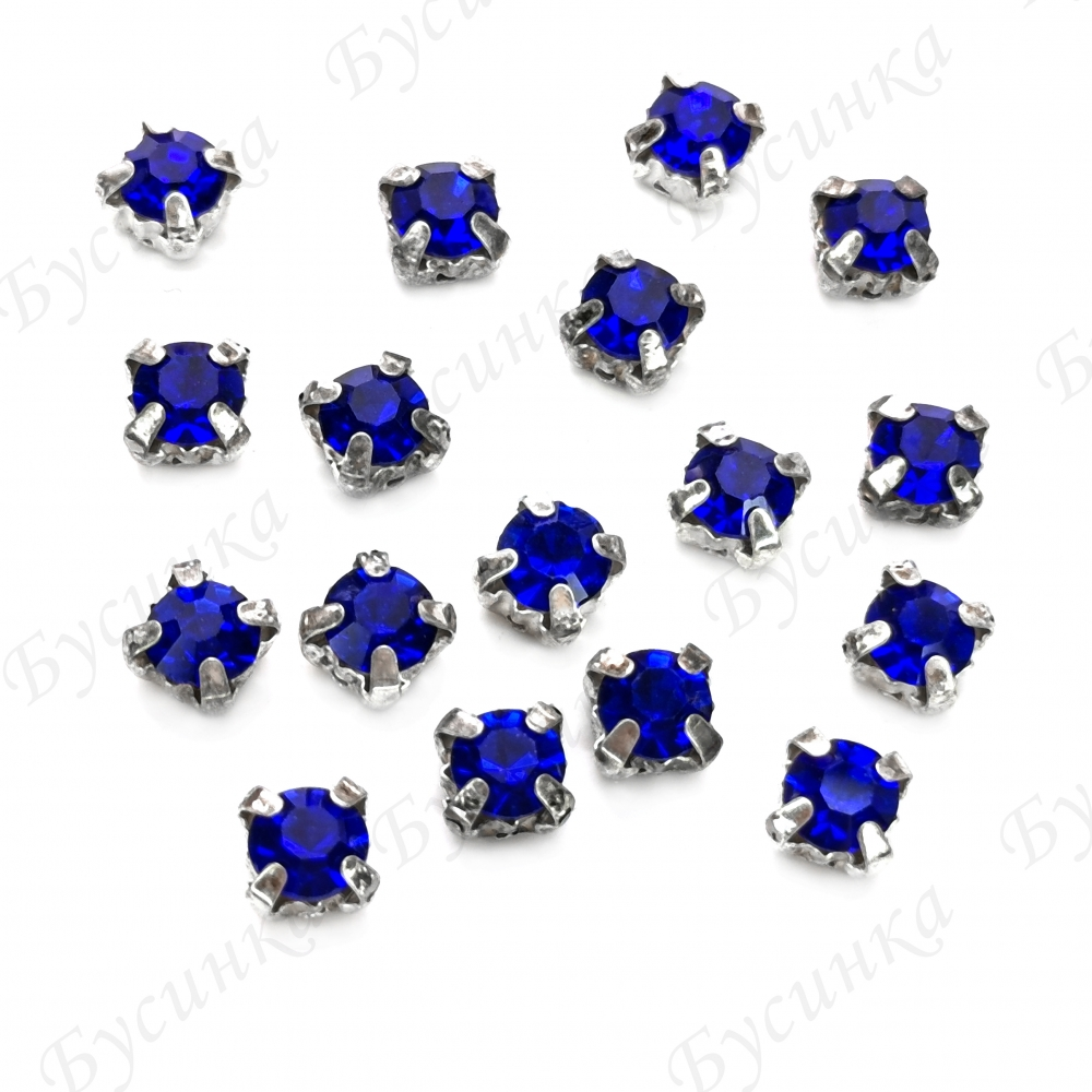 "Стразы в цапах Шатон ""Sapphire"" 5 мм"