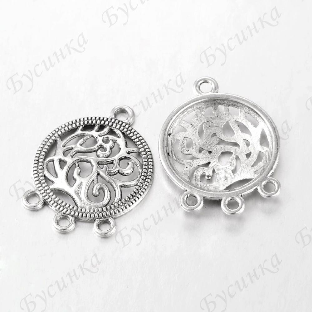 Коннектор на 4 отверстия Круглый с ажурным орнаментом Цвет: Античное серебро