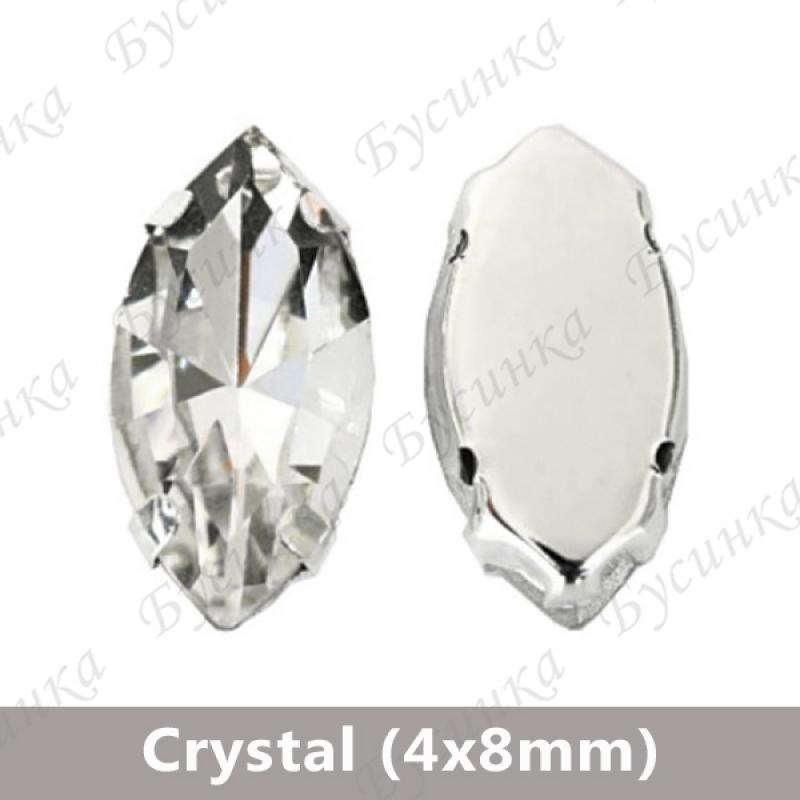 "Стразы в цапах Лодочка ""Crystal"" 4х8мм"