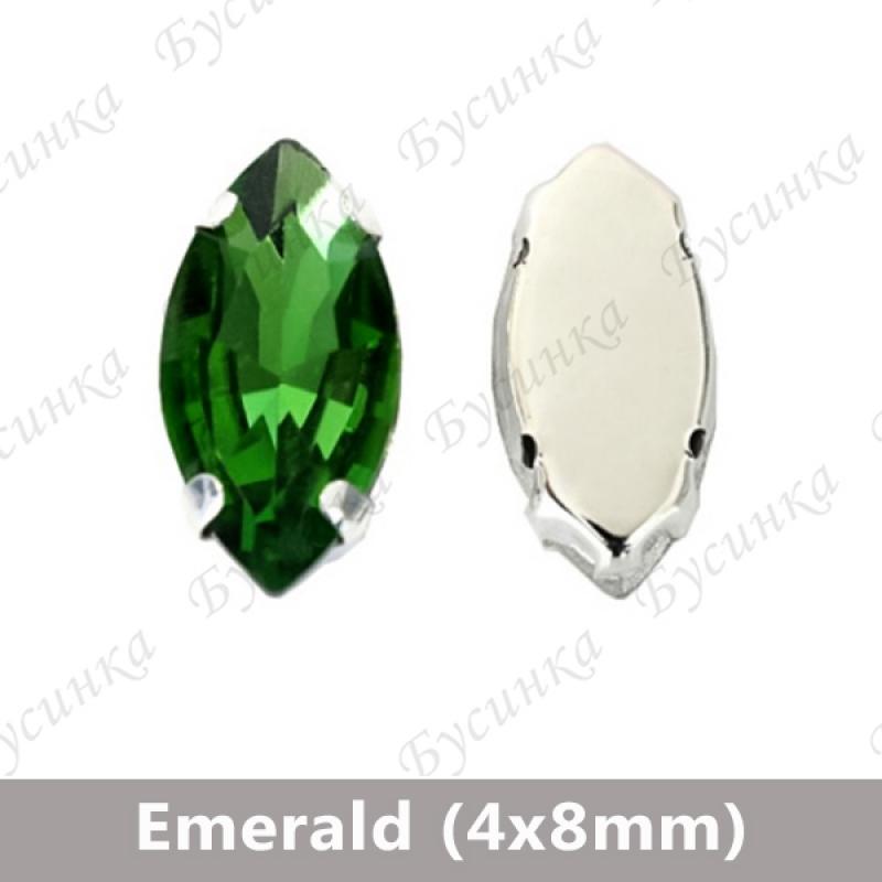 """Стразы в цапах Лодочка """"Emerald"""" 4х8мм"""