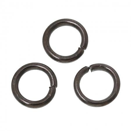 Колечки одинарные 6мм, Черный Gunmetal около 10 шт. в