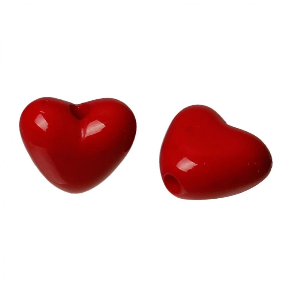 Бусины акрил. Сердце 11х10мм Красный