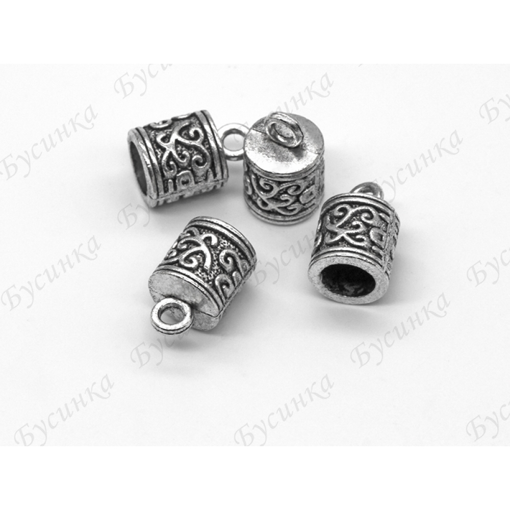 Концевики колпачки под вклейку с узором 8х13 мм, вн.Ø 6мм., Античное серебро