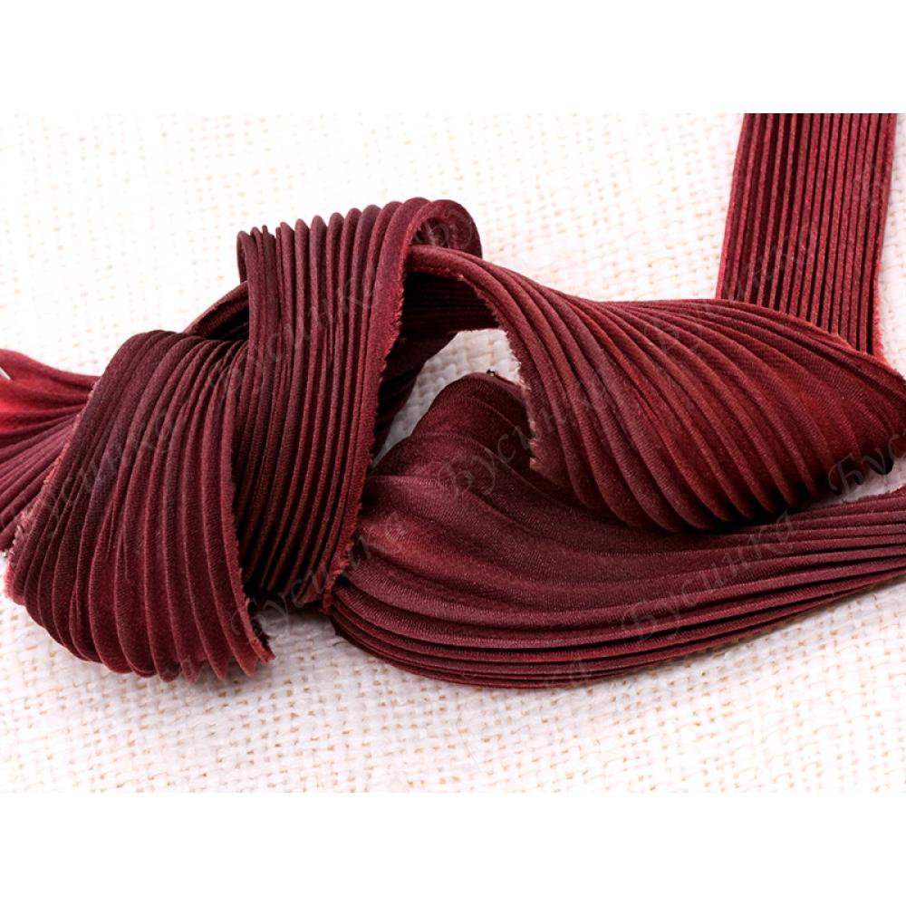 Лента Шибори шёлковая плиссированная №136 Вишня в шоколаде