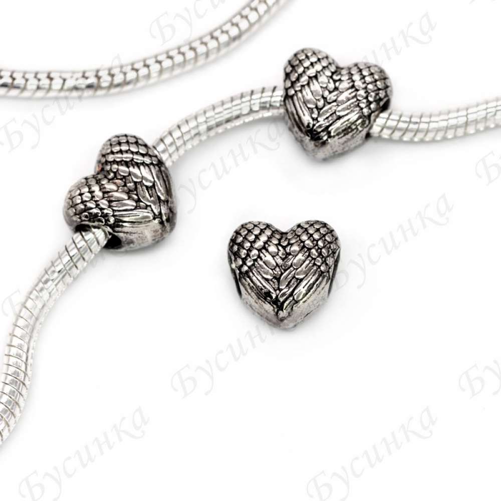 Бусины Шармы металлич. Сердце крылья11х10 мм.,вн.Ø 5 мм. Цвет: Античное Серебро