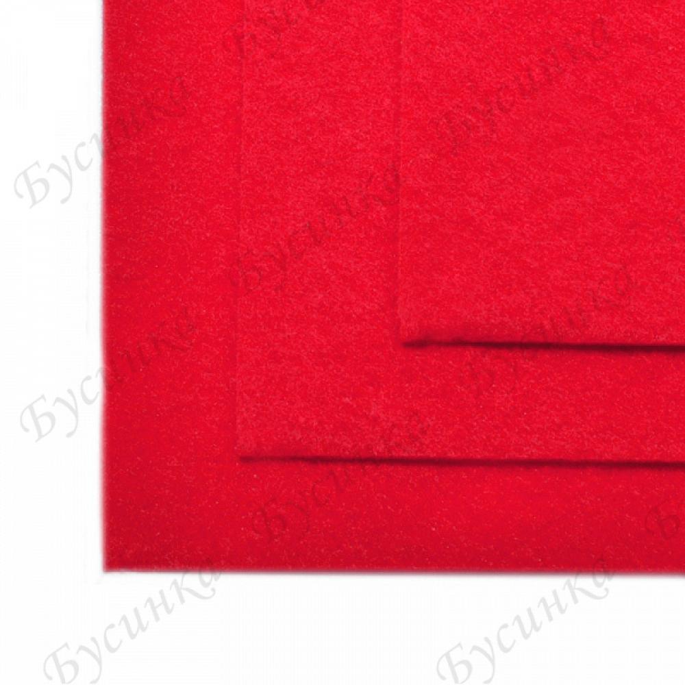 Фетр листовой жесткий 1 мм. 20х30 см. Цвет-603 Красный