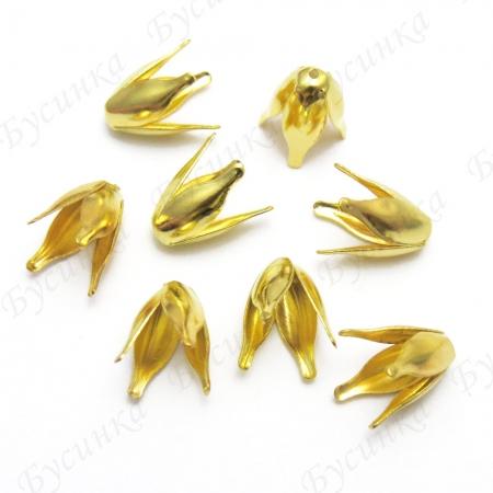 Шапочки для бусин лепестки 13х8мм, Золото