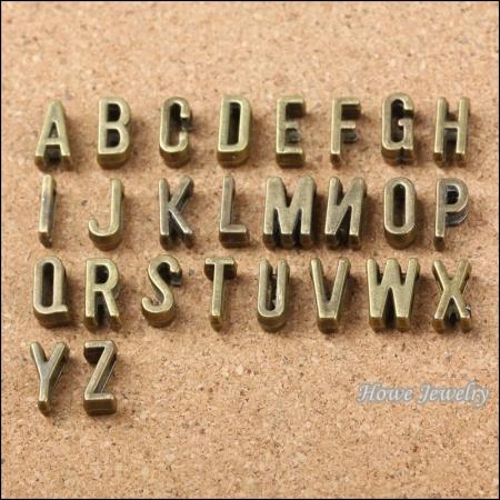 Бусины металлические Алфавит, Цвет: Бронза