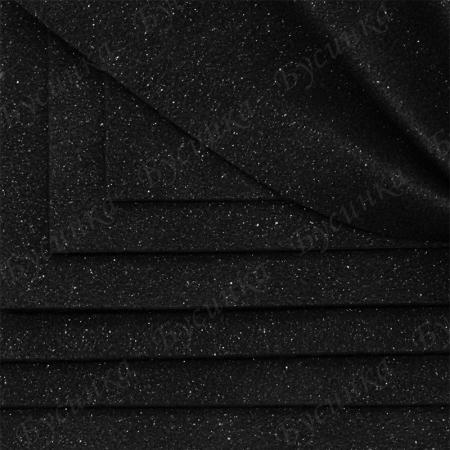 """Экокожа Замша текстура блестки-""""Млечный путь"""" 10х10см., Черный"""
