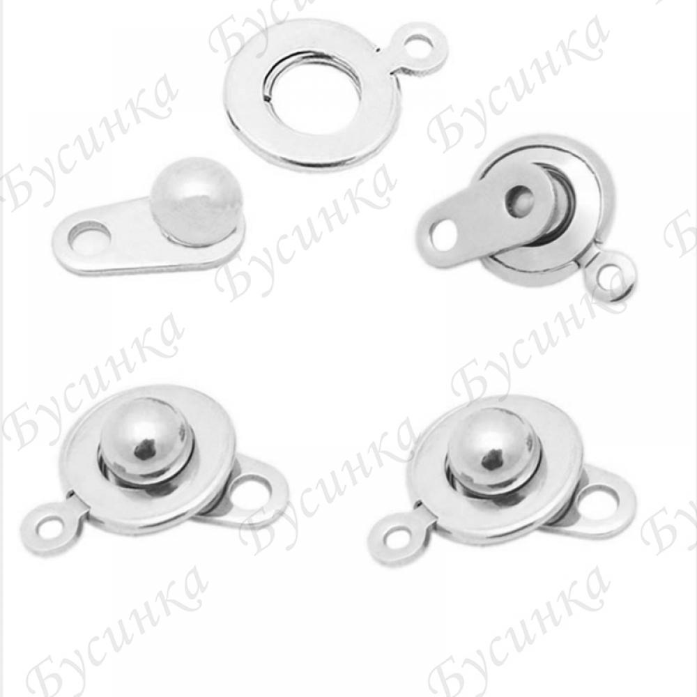 Замочек-кнопка для бижутерии,19х9х5 мм., Серебро