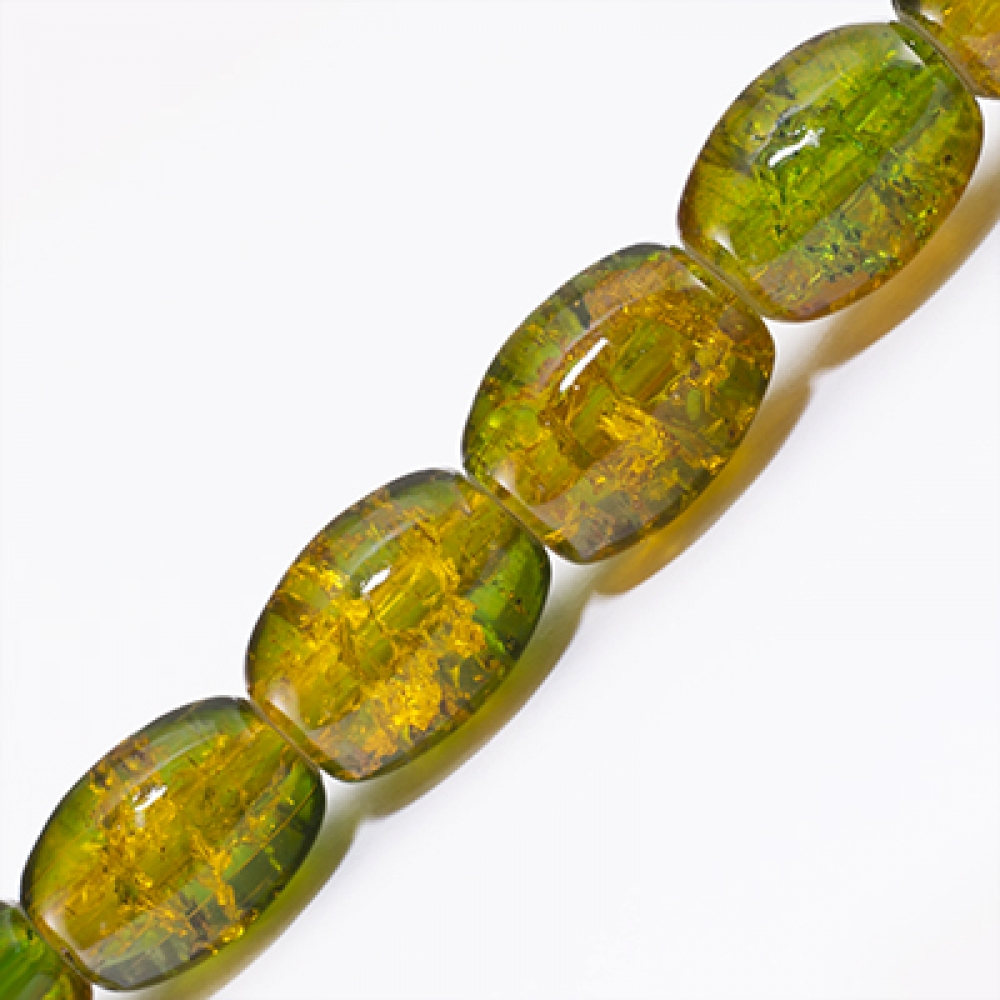 """Бусины """"битое стекло"""" Двухцвет Овал 11х8мм Зеленый A48"""