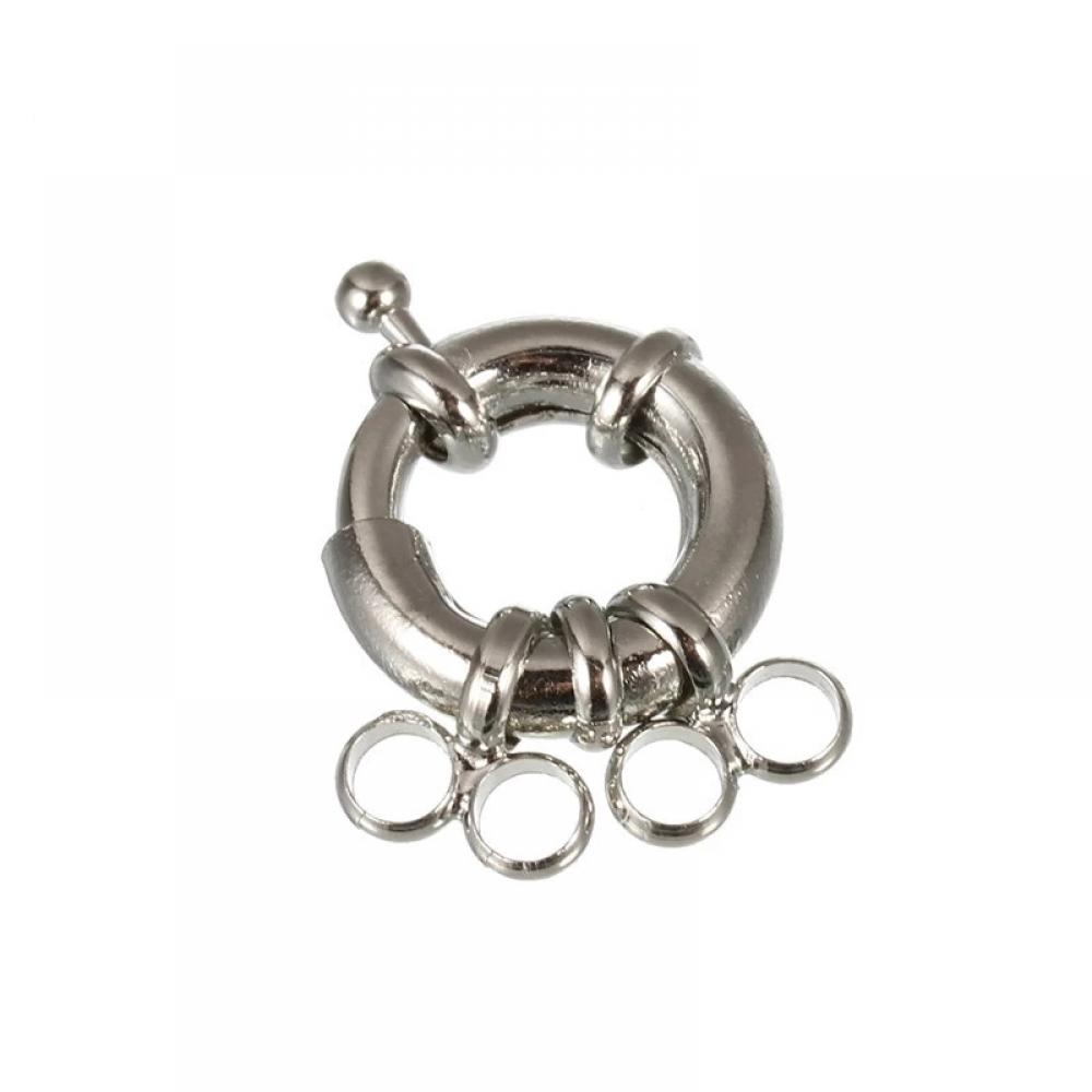 Застежка Карабин кольцо Латунь 13 мм с 2-мя петлями, Цвет: Стальной