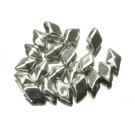 DiamonDuo бусины 2 отверстия серебро 5x8мм, (DD009) - 10 шт.