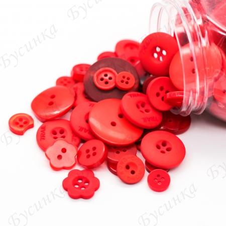 Пуговицы для декора, Акрил Красный Микс