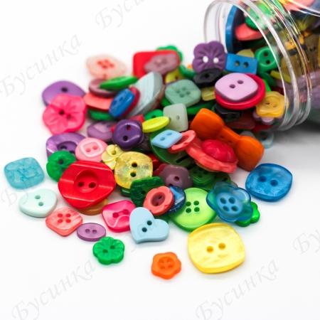 Пуговицы для декора, Акрил Разноцветный Микс