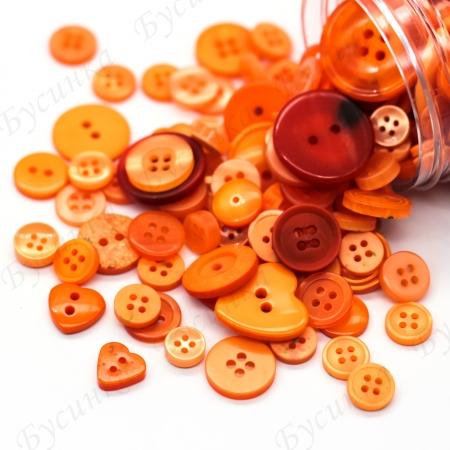 Пуговицы для декора, Акрил Оранжевый Микс