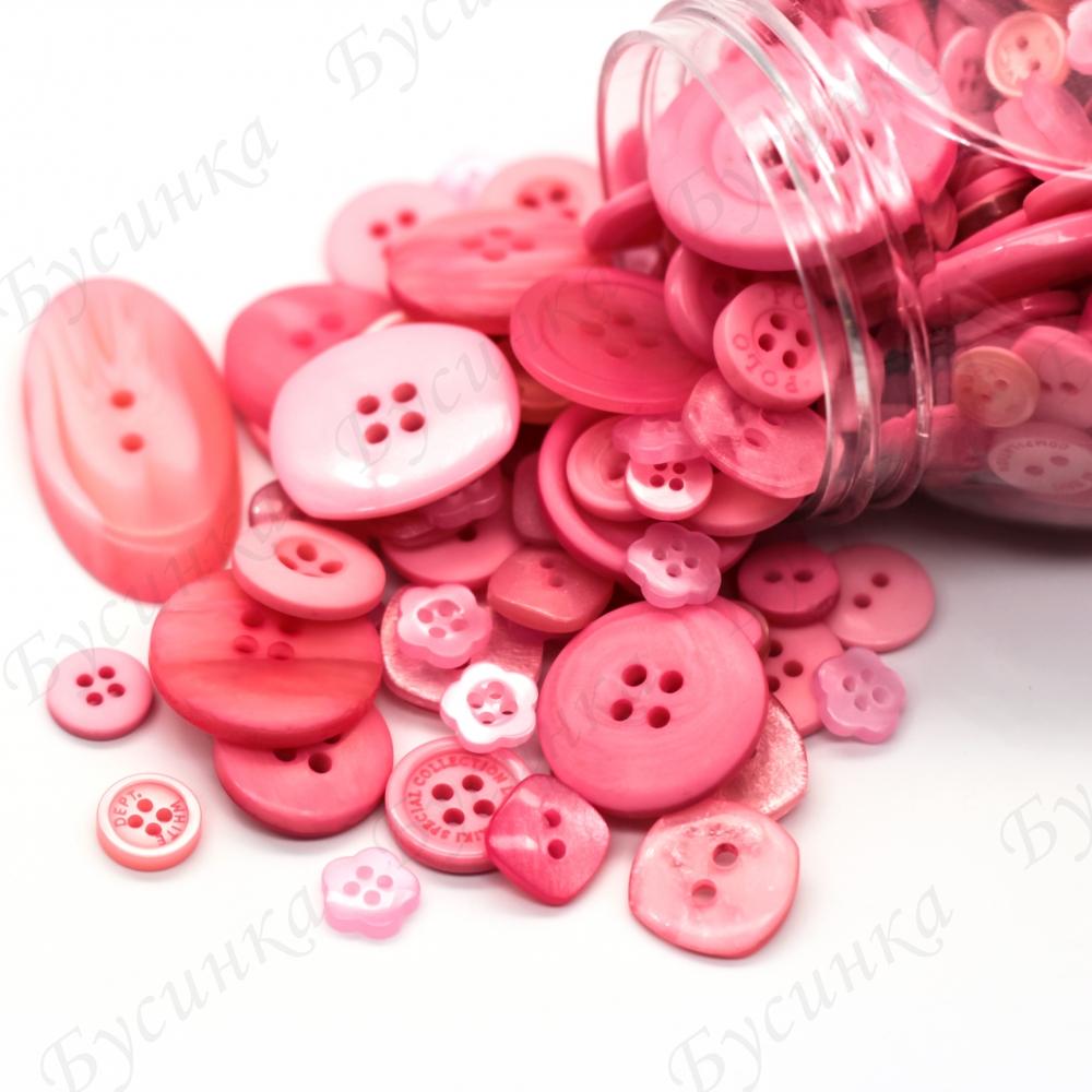 Пуговицы для декора, Акрил Розовый Микс