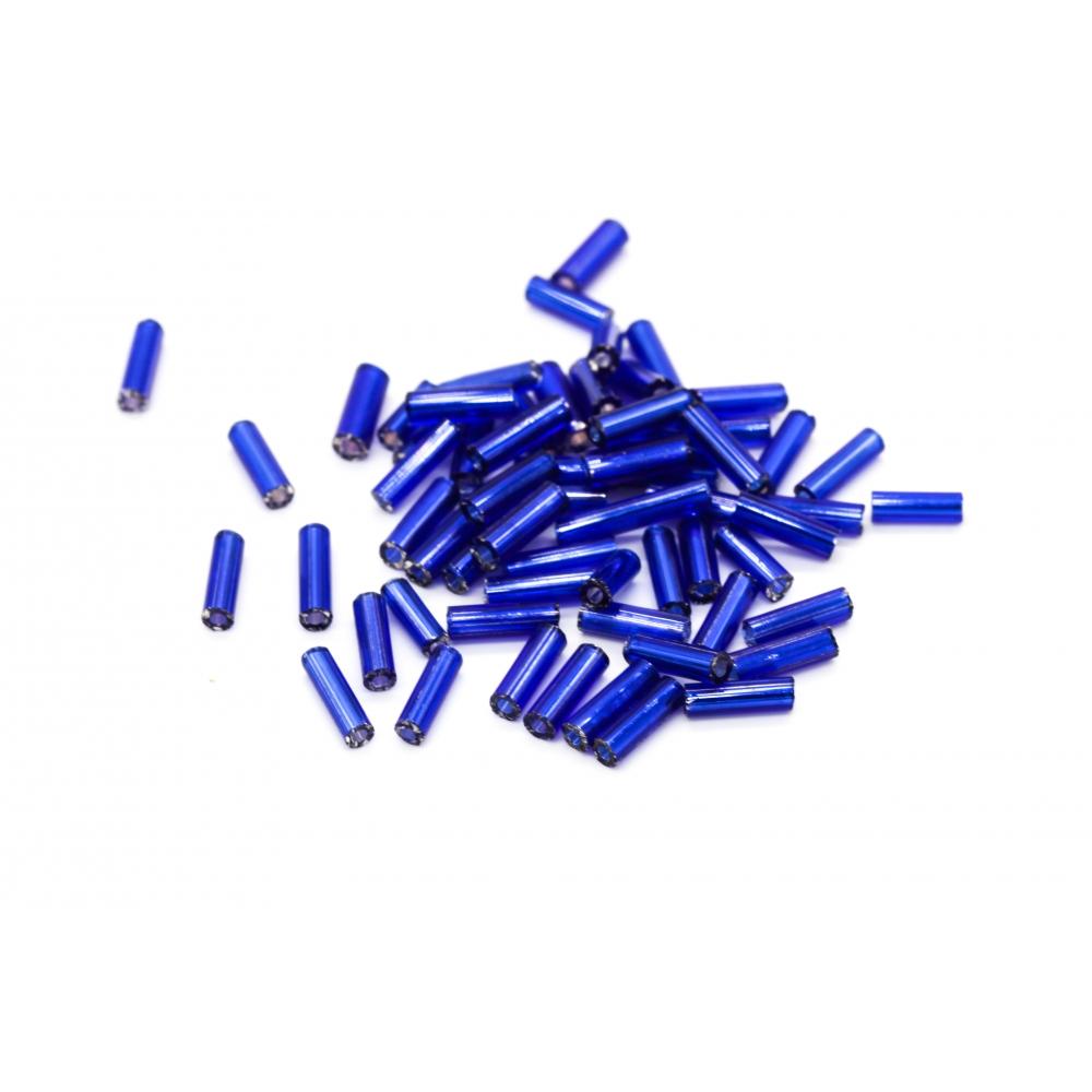 Бисер Китай Стеклярус 7 мм  цв. Синий с серебряной полосой