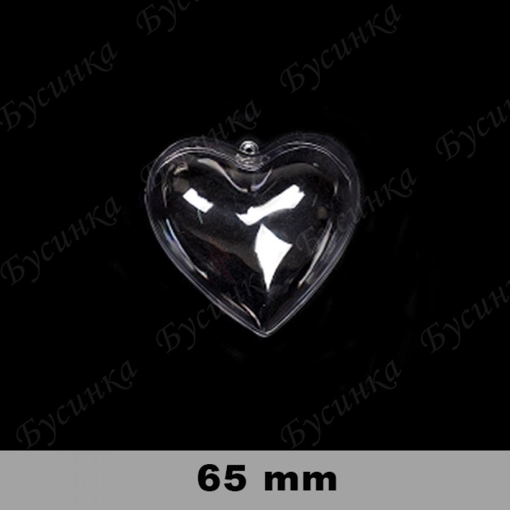 Шар-Сердце для декора 65мм, Прозрачный пластик/1шт.