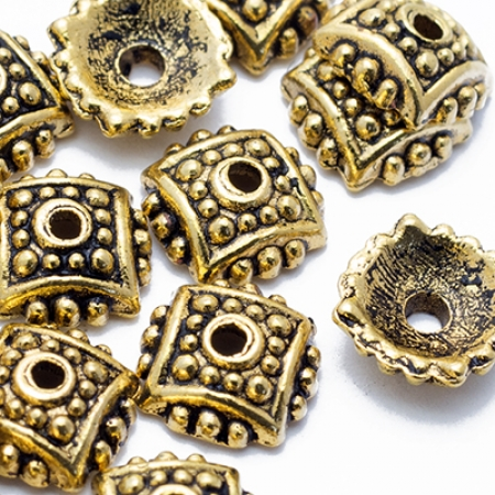 Шапочки для Бусин (K0873) Цветок 7.5х2.5мм, Античное Золото